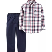 Carter's Infant Boys Plaid Button Front Top & Poplin Pants 2 pc. Set