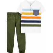 Carter's Infant Boys Striped Henley & Poplin Pant 2 pc. Set
