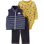 Carter's Infant Boys Animal Bodysuit, Vest and Pants 3 pc. Set