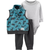 Carter's Infant Boys 3 pc. Bear Vest, Bodysuit and Pants 3 pc. Set
