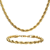 Stainless Steel Men's 18K Yellow Gold-plated Rope Chain and Bracelet Set