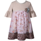 Bonnie Jean Infant Girls Floral and Leopard Mashup Dress