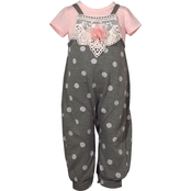 Bonnie Jean Infant Girls Bodysuit and Polka Dot Coverall 2 pc. Set