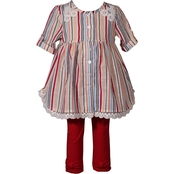 Bonnie Jean Toddler Girls Striped Shirt and Leggings 2 pc. Set