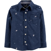 OshKosh NAVY POPLIN SHIRT WITH ASTRONAUT PRINT