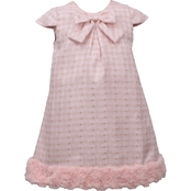Bonnie Jean Toddler Girls Fur Hem Jacquard Dress