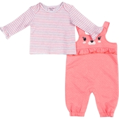 Little Lass Infant Girls Quilted Overalls 2 pc. Set