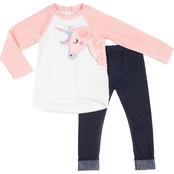 Little Lass Infant Girls Unicorn Quilted Top and Leggings 2 pc. Set