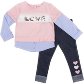 Little Lass Toddler Girls Love French Terry Shirt and Leggings 2 pc. Set