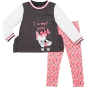 Little Lass Toddler Girls I Woof You Quilted Shirt and Leggings 2 pc. Set