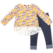 Little Lass Toddler Girls Floral and Lace French Terry Shirt and Leggings 2 pc. Set
