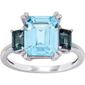 Sofia B. 14K White Gold Blue Topaz Three Stone Ring
