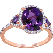 Sofia B. 14K Rose Gold 1/4 CTW Diamond and Amethyst Halo Three Stone Ring