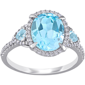 Sofia B. 14K White Gold 1/4 CTW Diamond and Blue Topaz Halo Three Stone Ring