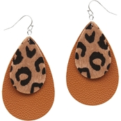 Panacea Brown Leopard Leather Layered Earring