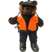 Bear Forces of America Plush Bear in the Coast Guard Life Vest Uniform, 11 in.