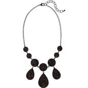 Carol Dauplaise Jet Round and Teardrop Black Sequins Statement Necklace