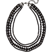 Carol Dauplaise Jet Tone Multi-row Black Beaded Torsade Necklace