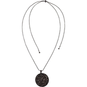 Carol Dauplaise Jet Tone Round Black Sequins Adjustable Pendant