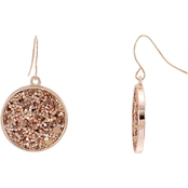 Carol Dauplaise Jet Sequin Round Disc Earring