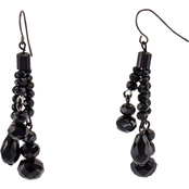 Carol Dauplaise Jet Bead Tassel Drop Earring