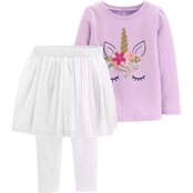 Carter's Infant Girls Glitter Unicorn Top and Tutu Leggings Set