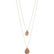 Carol Dauplaise Rose Gold Tone Triple Layered Teardrop Sequin Necklace