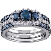 Diamore 10K White Gold 2 CTW Blue and White Diamond 3 Stone 3 pc. Bridal Ring Set