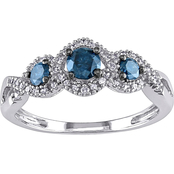 1/2 CT TW Blue and White Diamond 3-Stone Ring in 14k White Gold