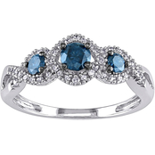Diamore 14K White Gold 1/2 CTW Blue and White Diamond 3 Stone Ring