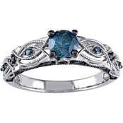 Diamore 10K White Gold 4/5 CTW Blue Diamond Vintage Filigree Engagement Ring