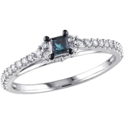 Diamore 10K White Gold 1/2 CTW Blue and White Diamond Engagement Ring