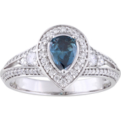 Diamore 14K White Gold 7/8 CTW Blue and White Diamond Engagement Ring