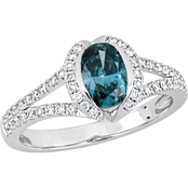 Diamore 14K White Gold 1 1/3 CTW Blue and White Diamond Engagement Ring