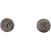 Carol Dauplaise Silver Tone Faux Pave Clip Stud Earring
