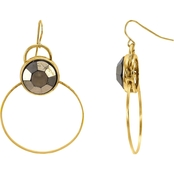 Carol Dauplaise Gold Tone Faux Pave Hoop Earring