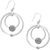 Lucky Brand Silver Pave Open Circle Bead Drop Hoop Earrings