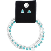 Lucky Brand Silvertone Faux Turquoise Bracelet and Triangle Earring Set