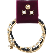 Lucky Brand Two-tone Bracelet and Circle Earring Set