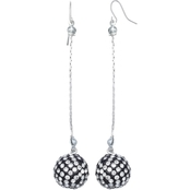 jules b Pave Ball Linear Drop Earrings