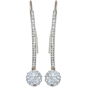 Jules b Pave Crystal Ball Threader Earrings