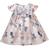 Bonnie Jean Infant Girls Shantung Floral Trapeze Float Dress