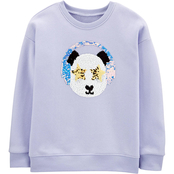 OshKosh B'gosh Little Girls Lavender Panda Drop Shoulder Sweatshirt