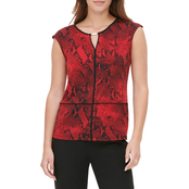 Calvin Klein Sleeveless Printed Top with Piping and Hardware