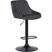 Armen Living Anibal Barstool in Black Coated Finish with Grey Faux Leather