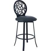 Armen Living Lotus Barstool in Matte Black Finish and Grey Faux Leather