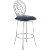 Armen Living Lotus Barstool in Brushed Stainless Steel Finish and Grey Faux Leather