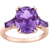Sofia B. 14K Rose Gold Amethyst Three Stone Ring