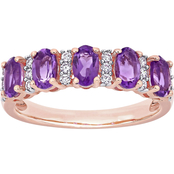 Amethyst and 1/6 CT TW Diamond Semi-Eternity Band in 14k Rose Gold