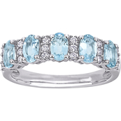 Aquamarine and 1/6 CT TW Diamond Semi-Eternity Band in 14k White Gold